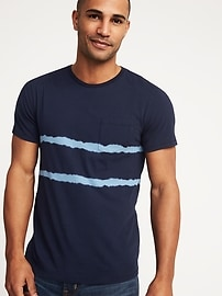 Garment-Dyed Crew-Neck Pocket Tee for Men