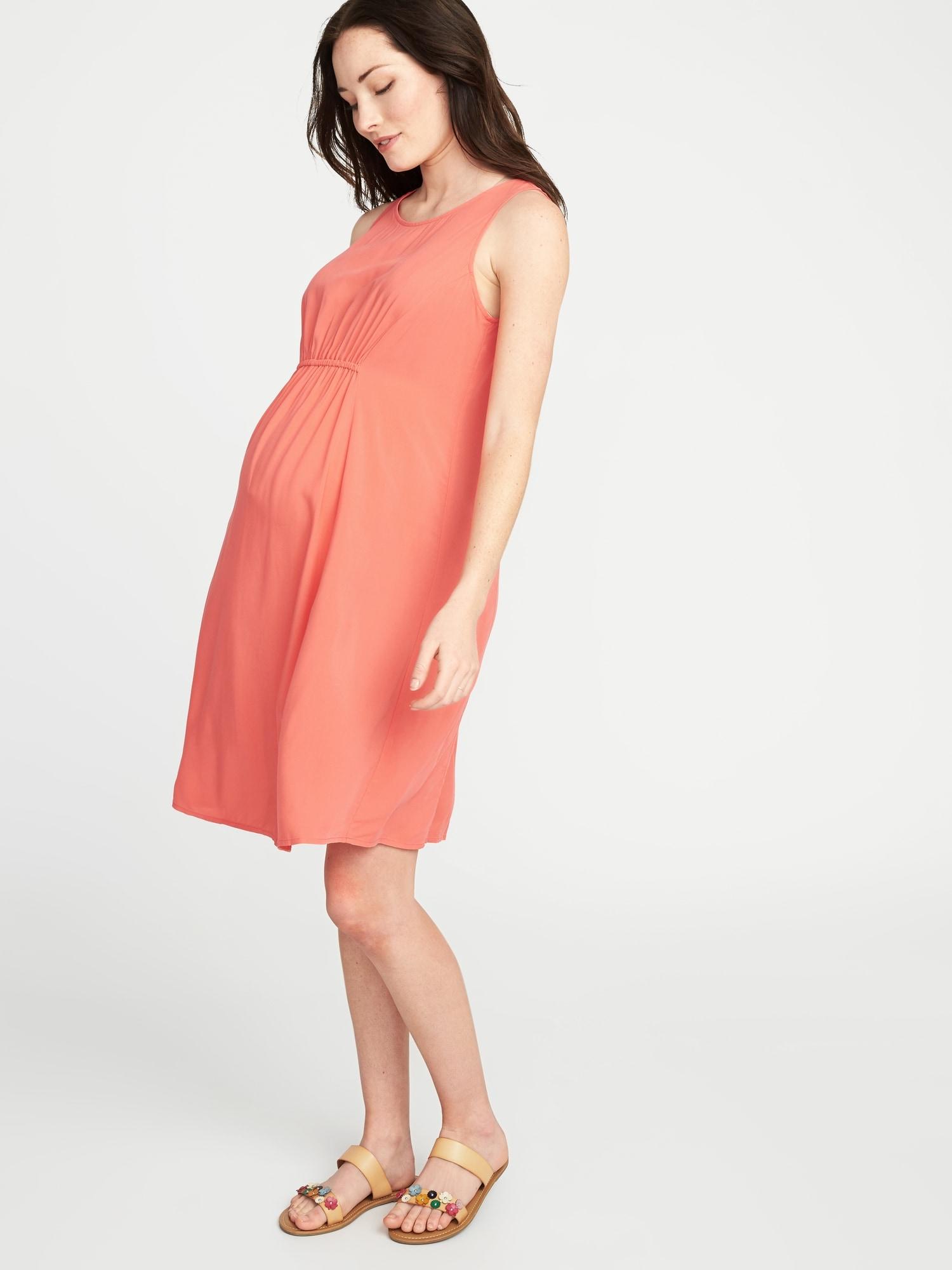 bcf9b310cb252d Maternity High-Neck Shirred-Waist Shift Dress