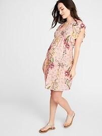 Maternity Ruffle-Sleeve Dress