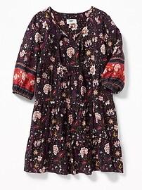 Robe étagée nouée à l'avant à motifs de fleurs pour fille