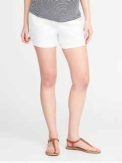 Maternity Relaxed Side-Panel Twill Shorts (5