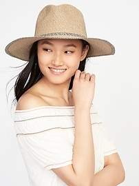 Wide-Brim Straw Fedora for Women