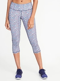 Mid-Rise Printed Compression Crops for Women