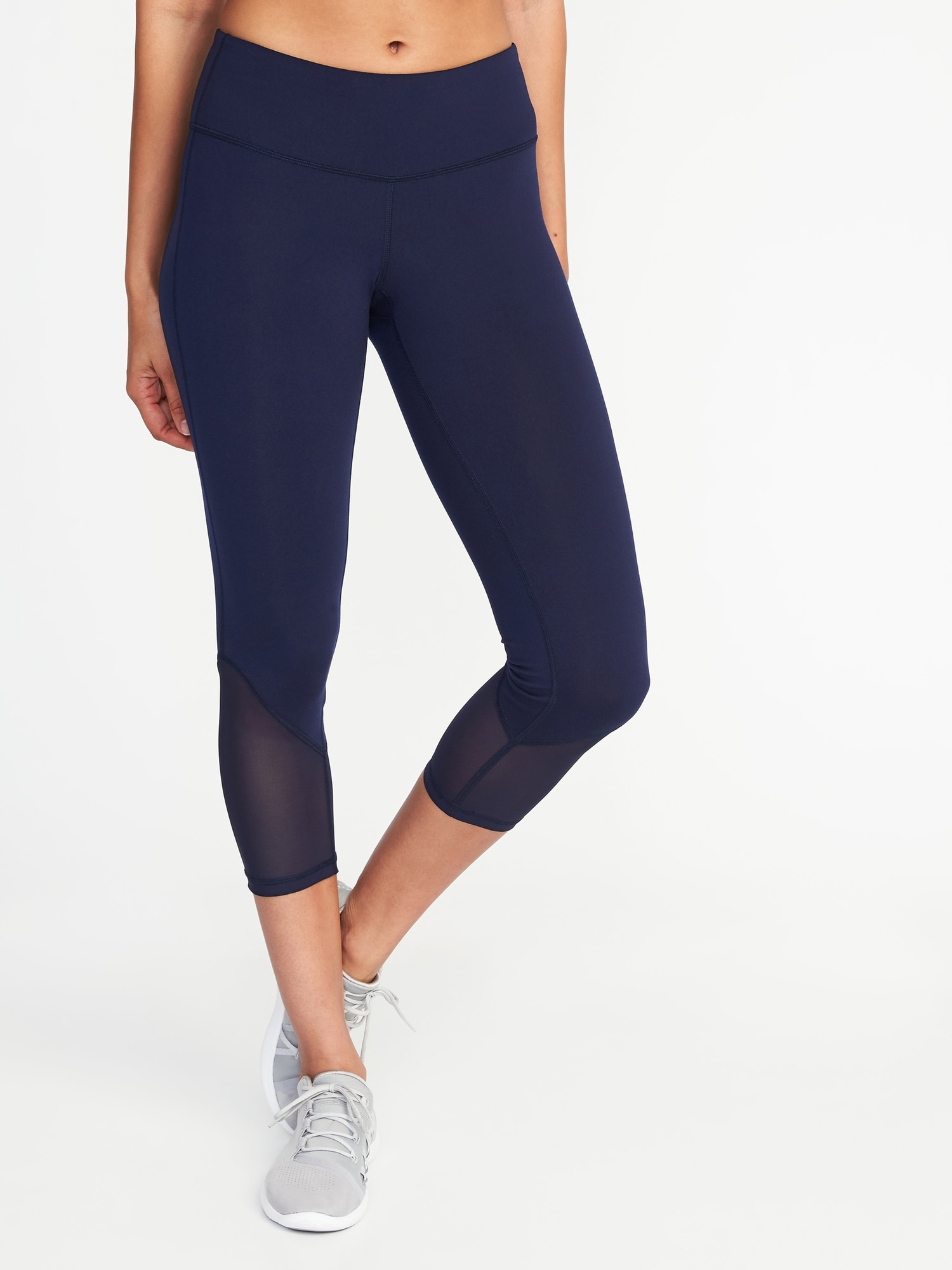 6a7614c05851f Mid-Rise Mesh-Trim Compression Crops for Women | Old Navy