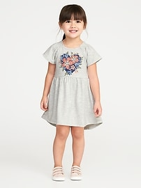 Fit & Flare French-Terry Hi-Lo Dress for Toddler Girls