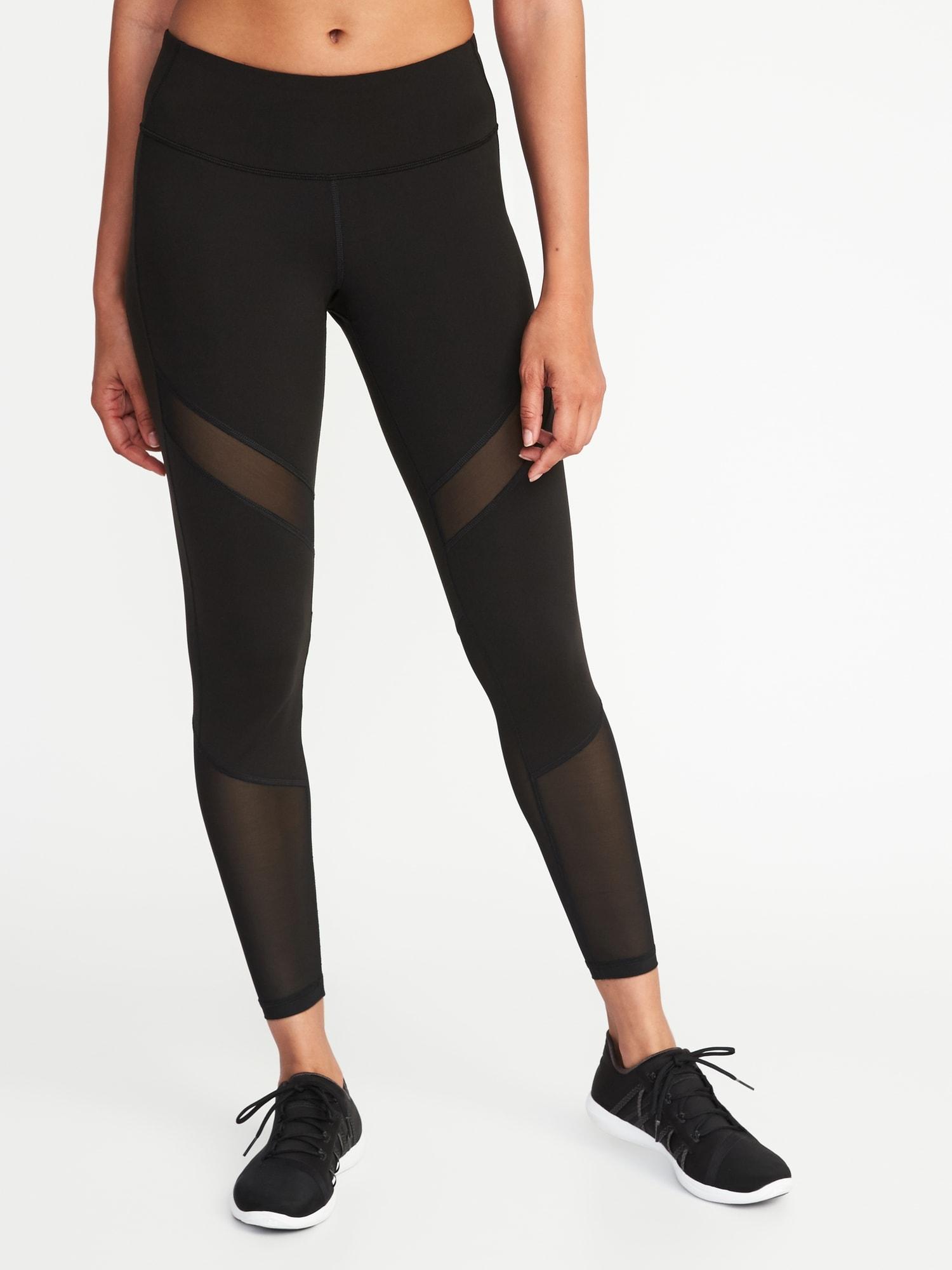 71517c4ac6942 Mid-Rise 7/8-Length Mesh-Trim Leggings for Women   Old Navy