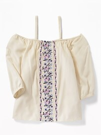 Embroidered Off-the-Shoulder Blouse for Girls