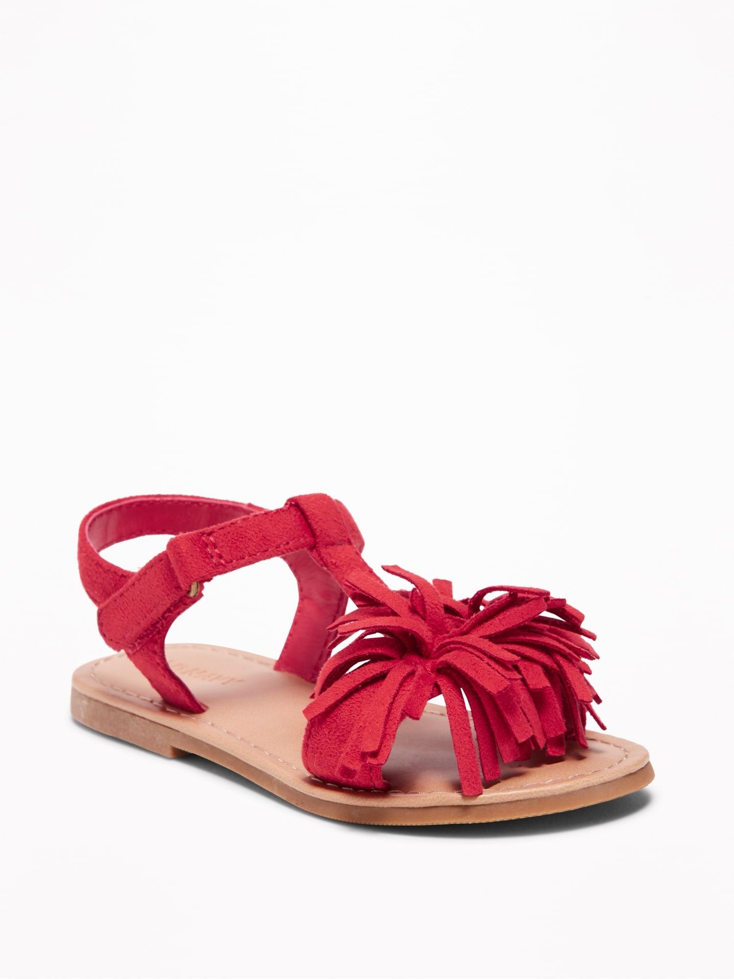 Sueded Pom Sandals For Toddler Girls Old Navy High Heel Slides With Pompoms