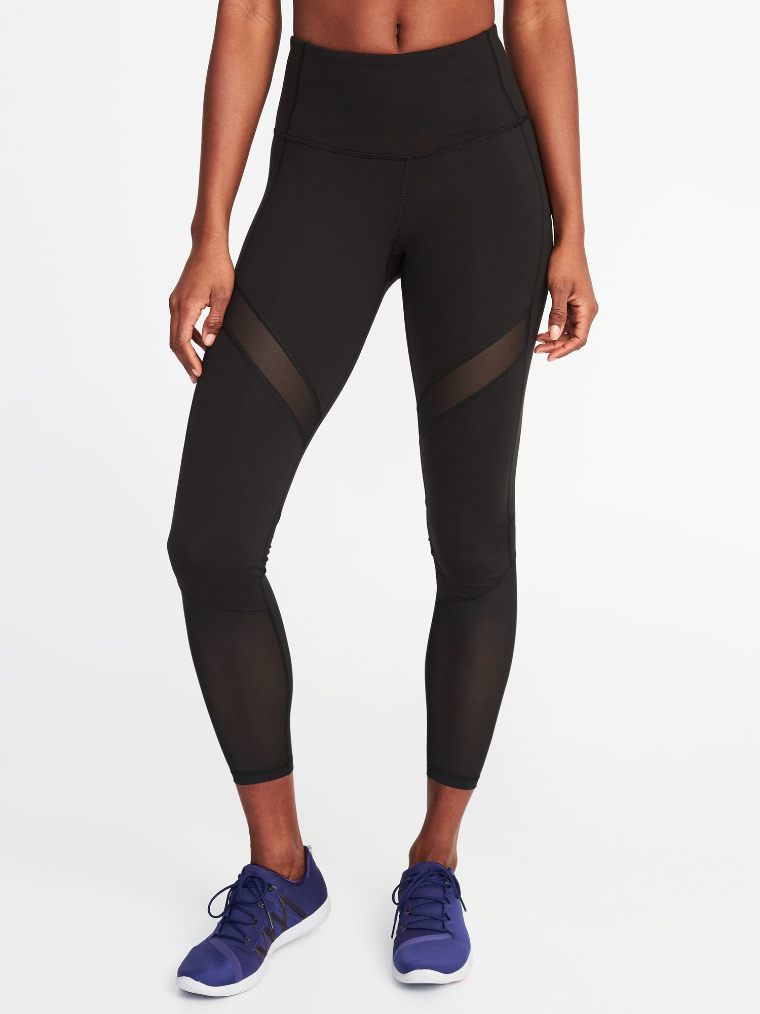 3e42a45d17 High-Rise Mesh-Trim 7/8-Length Compression Leggings for Women | Old Navy