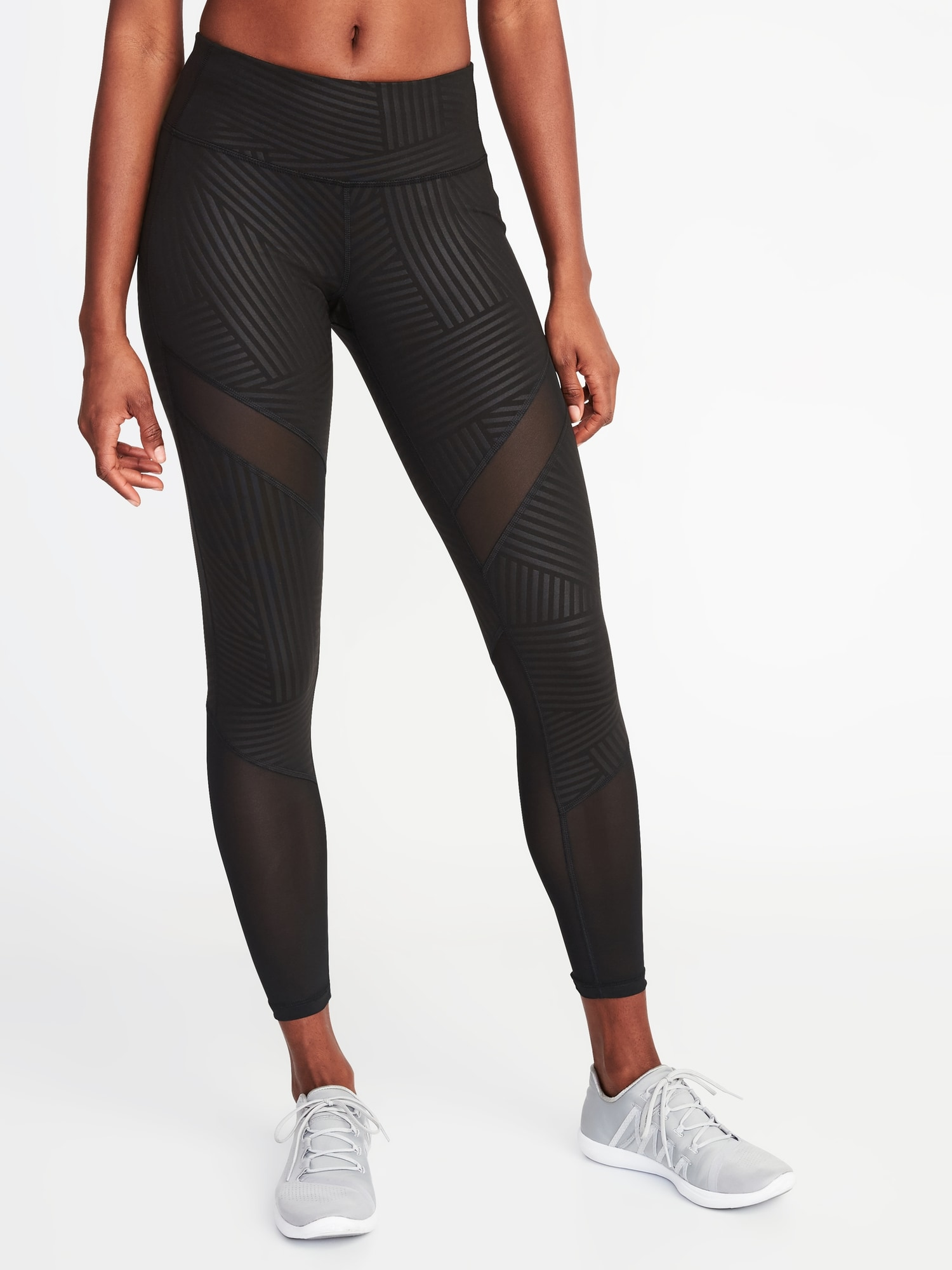 7988f4c7a768d Mid-Rise 7/8-Length Mesh-Trim Leggings for Women