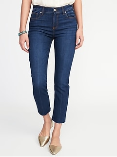Mid-Rise Dark-Wash Raw-Hem Straight Ankle Jeans for Women