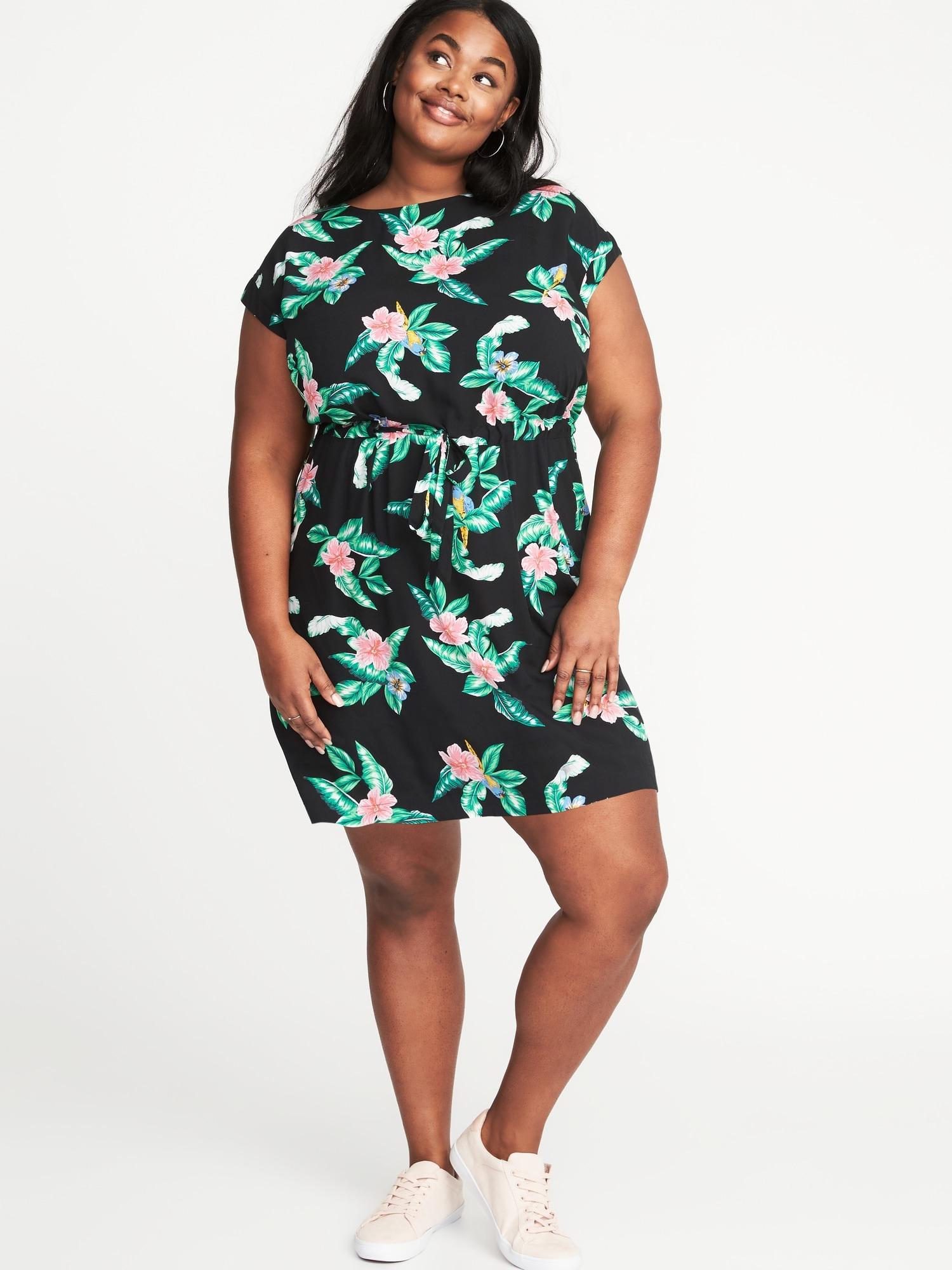 4dac7042431 Waist-Defined Plus-Size Dress. Waist-Defined Plus-Size Wrap-Front Floral  Dress. old navy dresses plus size pluslookeu collection ...