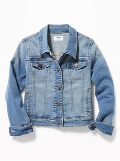 Medium-Wash Jean Jacket For Girls