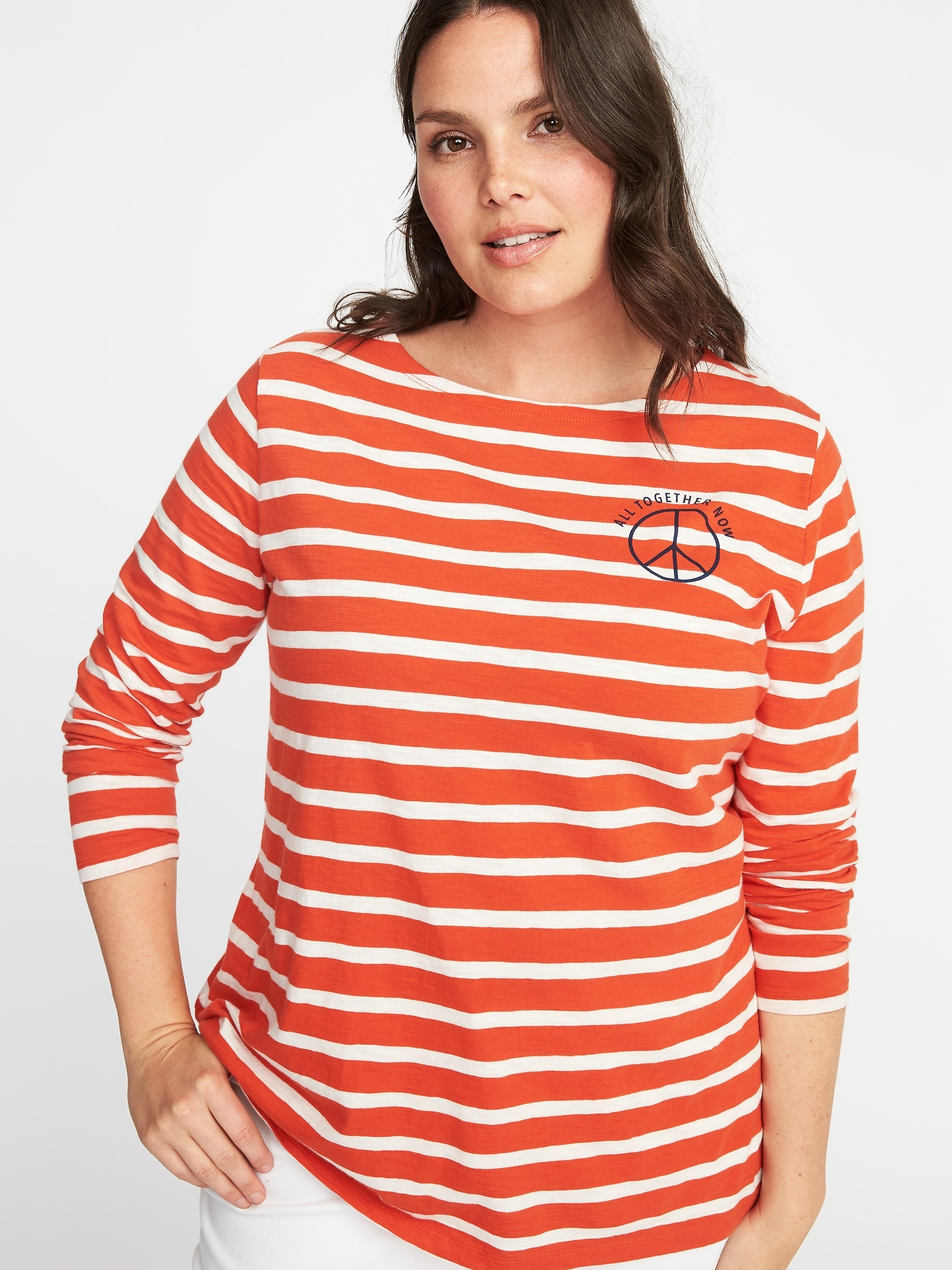 74d66c8a82ddc Relaxed Plus-Size Mariner-Stripe Graphic Tee