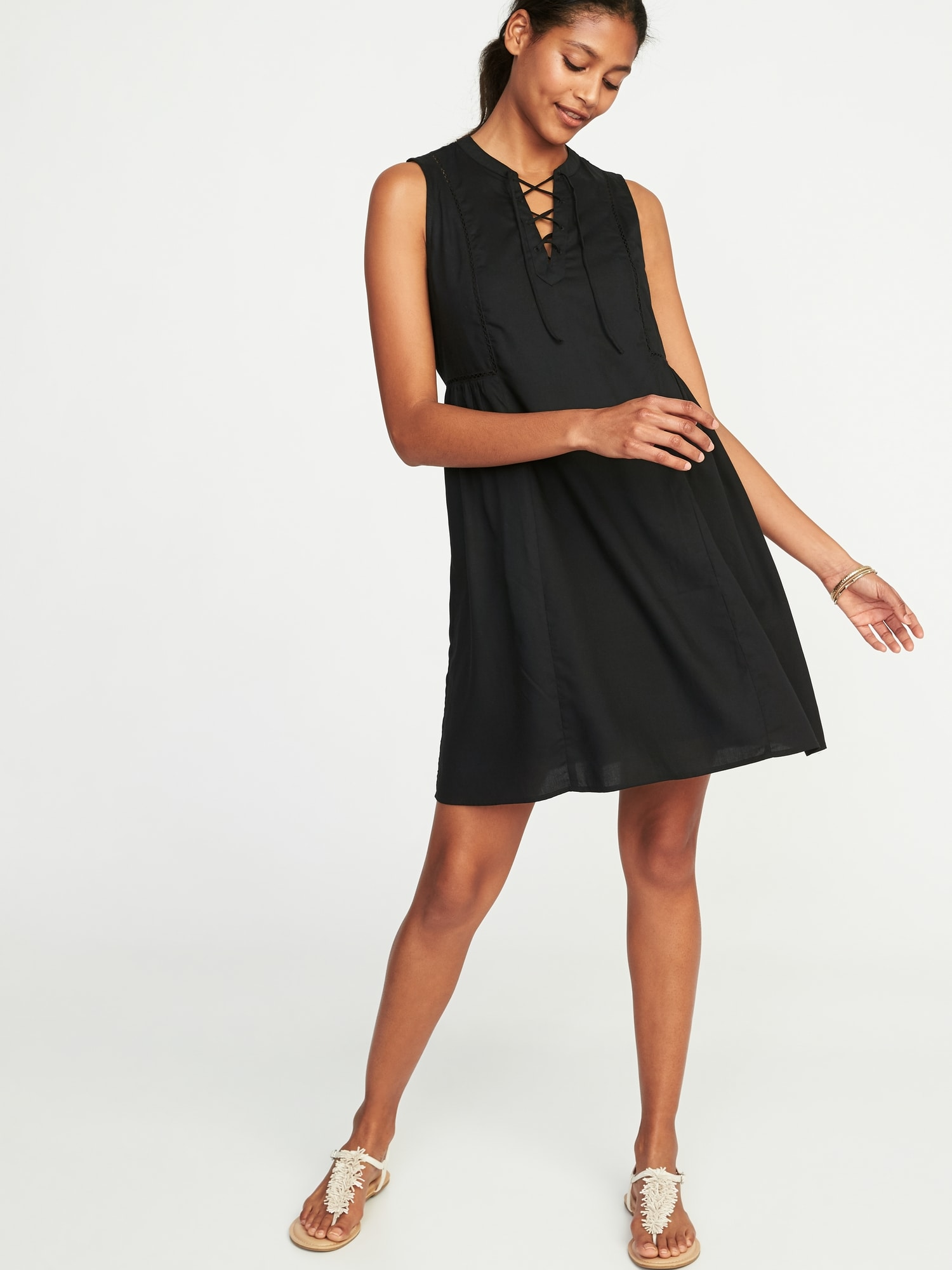 973754d105d3 Lace-Up Sleeveless Swing Dress for Women | Old Navy