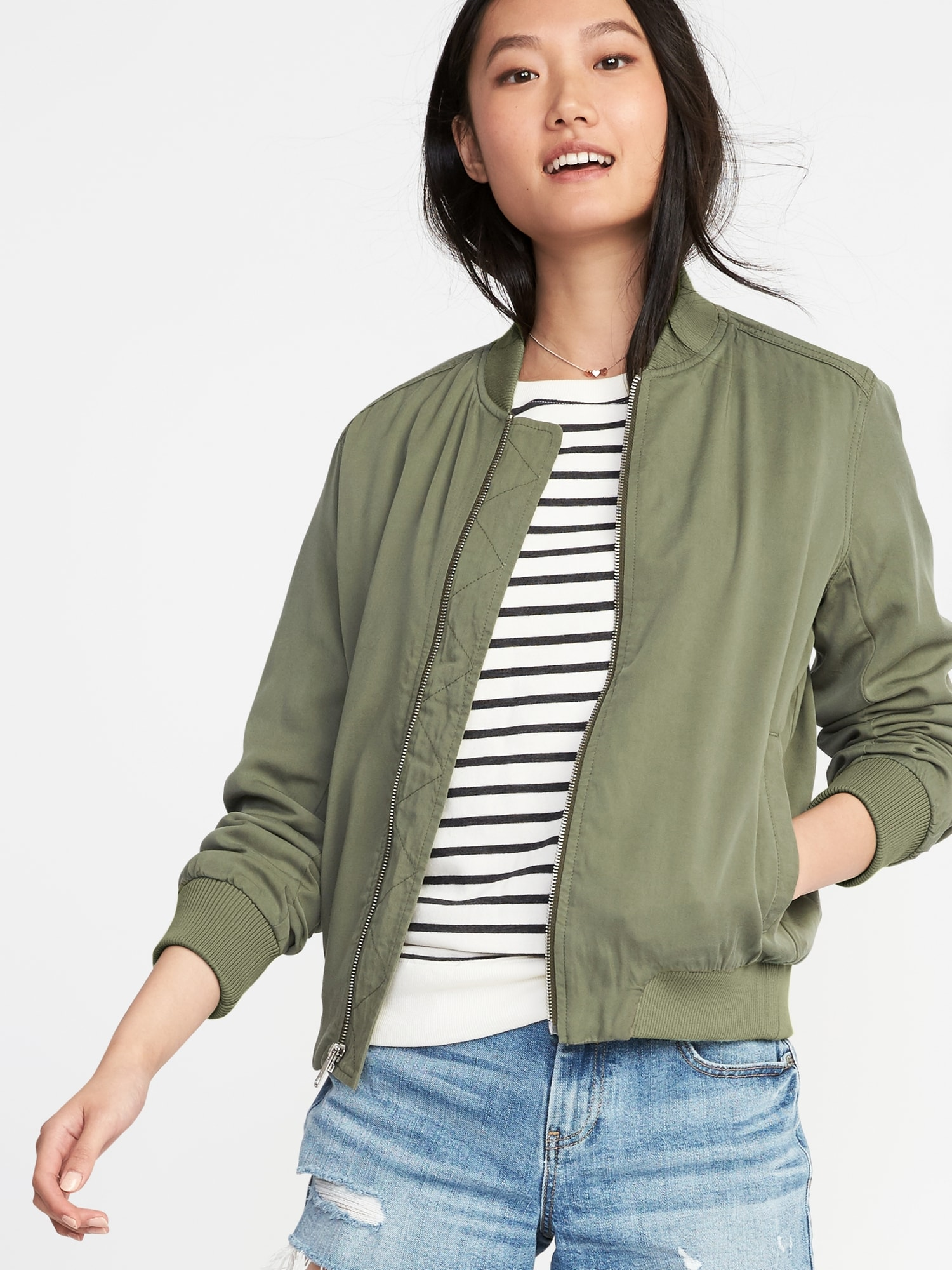 2ae68d07f9a Lightweight Twill Bomber Jacket for Women