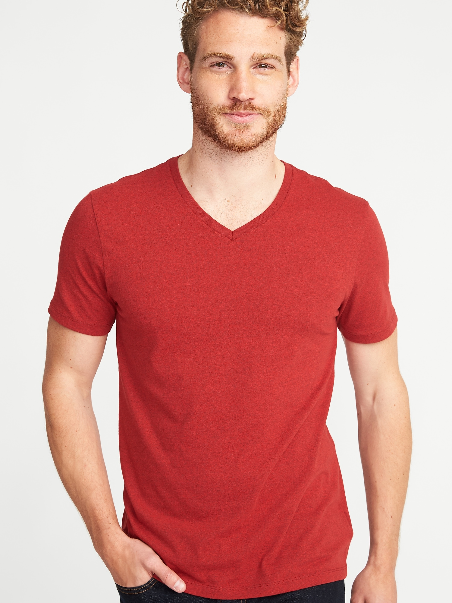 Soft Washed Slub Knit V Neck Tee For Men Old Navy