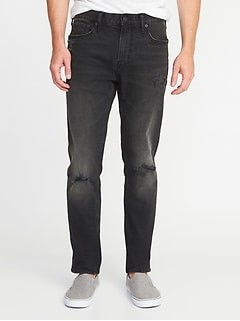 Relaxed Slim Built-In Flex Distressed Black Jeans For Men