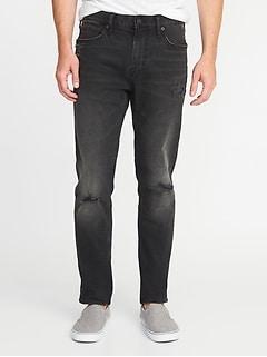 Jean noir Built-In Flex d'aspect usé, coupe étroite décontractée pour homme