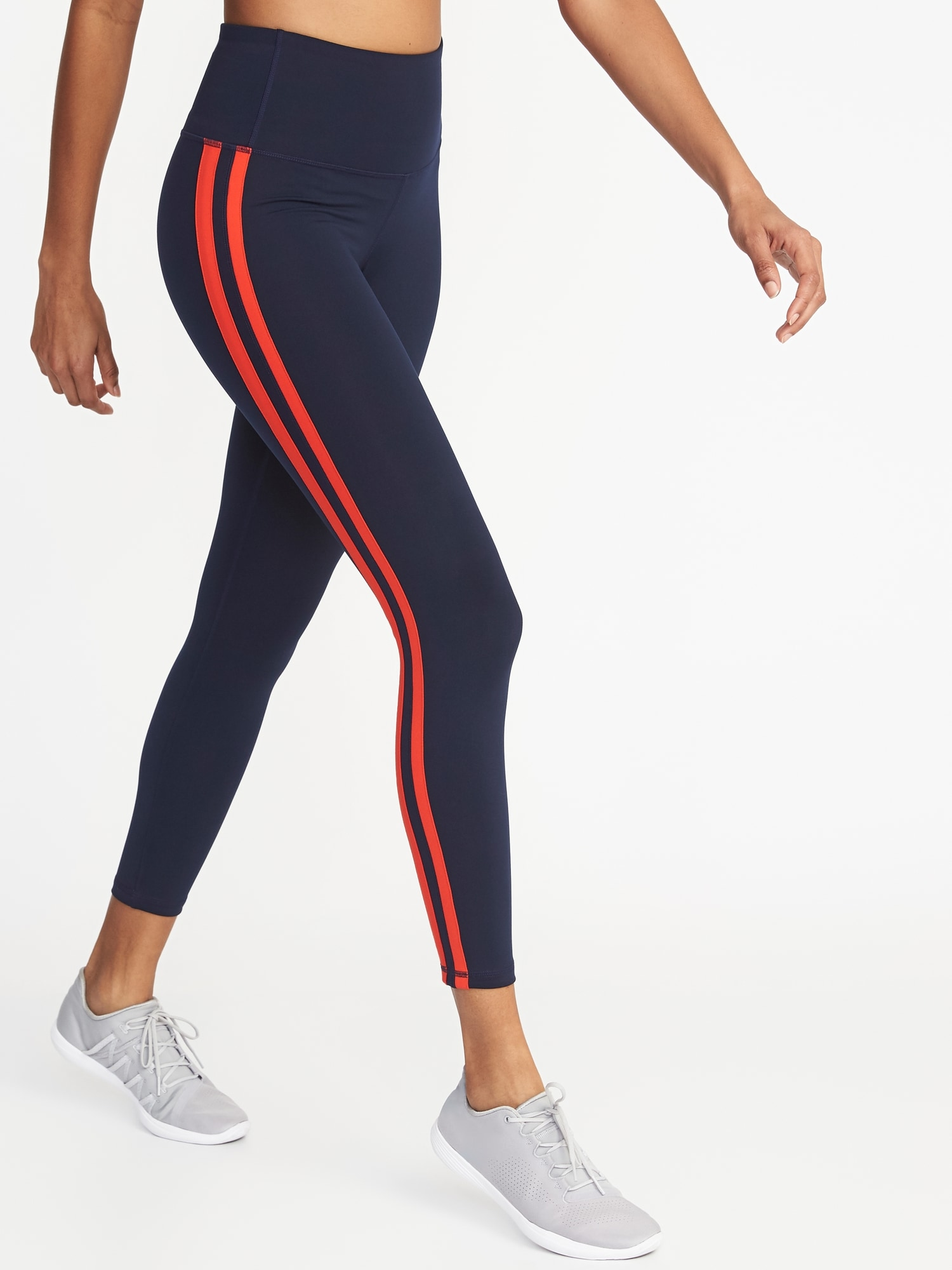 be89375585e6 OLD NAVY. HIGH-RISE SIDE-STRIPE 7/8-LENGTH COMPRESSION LEGGINGS FOR WOMEN