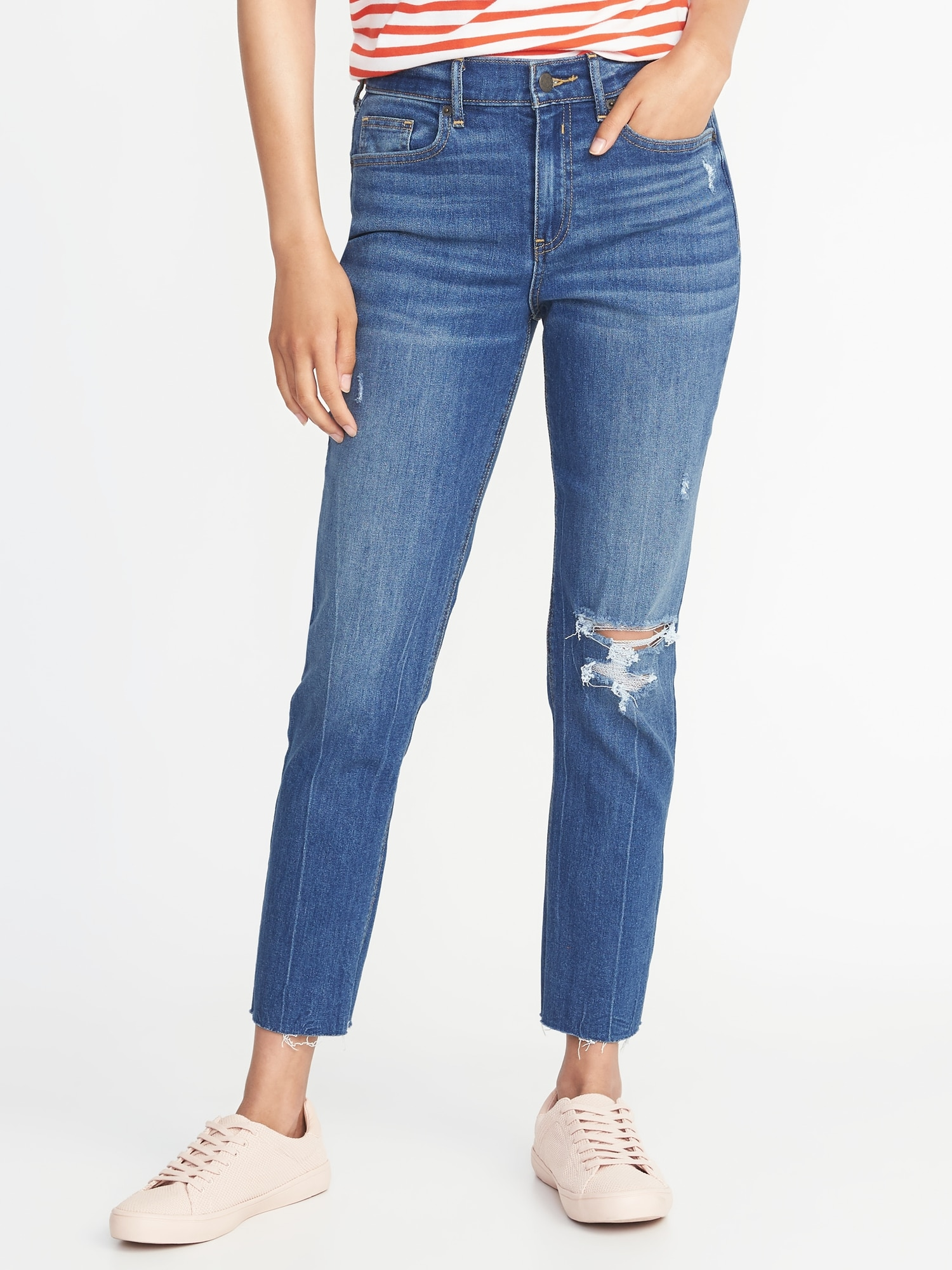a0855d85312 Mid-Rise Distressed Raw-Hem Straight Ankle Jeans for Women