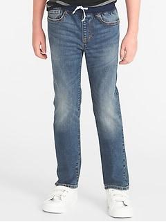Slim Rib-Knit Waist Built-In Flex Max Karate Jeans for Boys