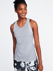 High-Neck Mesh-Trim Racerback Performance Tank for Women