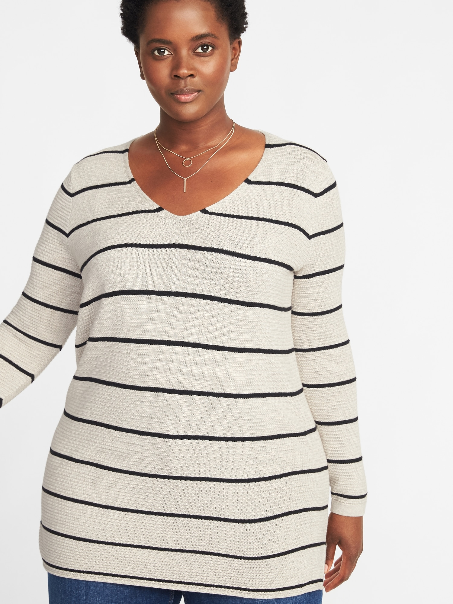 85dc2155fe523 Textured V-Neck Plus-Size Tunic Sweater