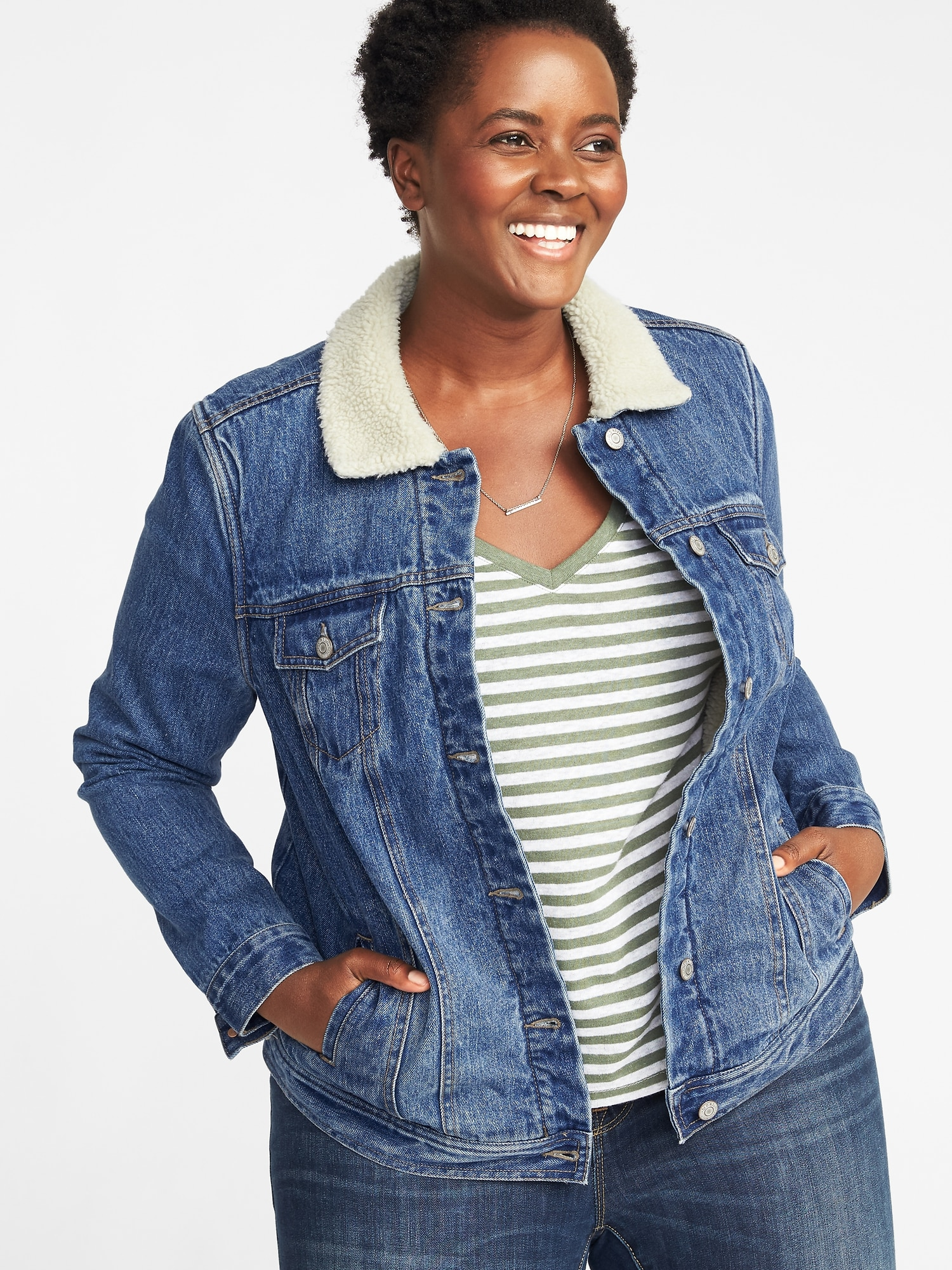 230852c23ed Sherpa-Lined Plus-Size Denim Jacket