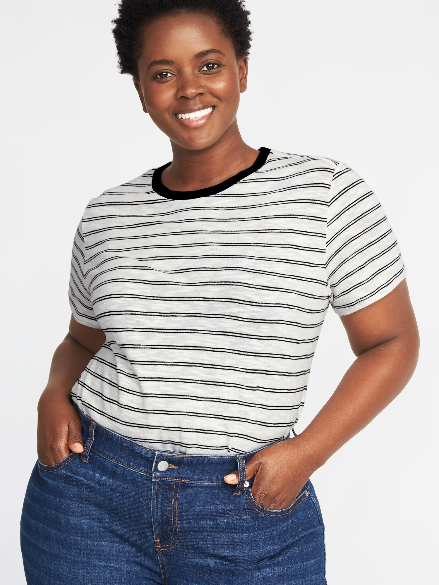 5bf833b0930 EveryWear Plus-Size Slub-Knit Tuck-In Tee