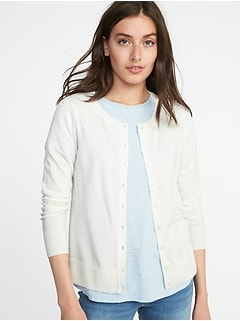 Semi-Fitted Button-Front Cardi for Women