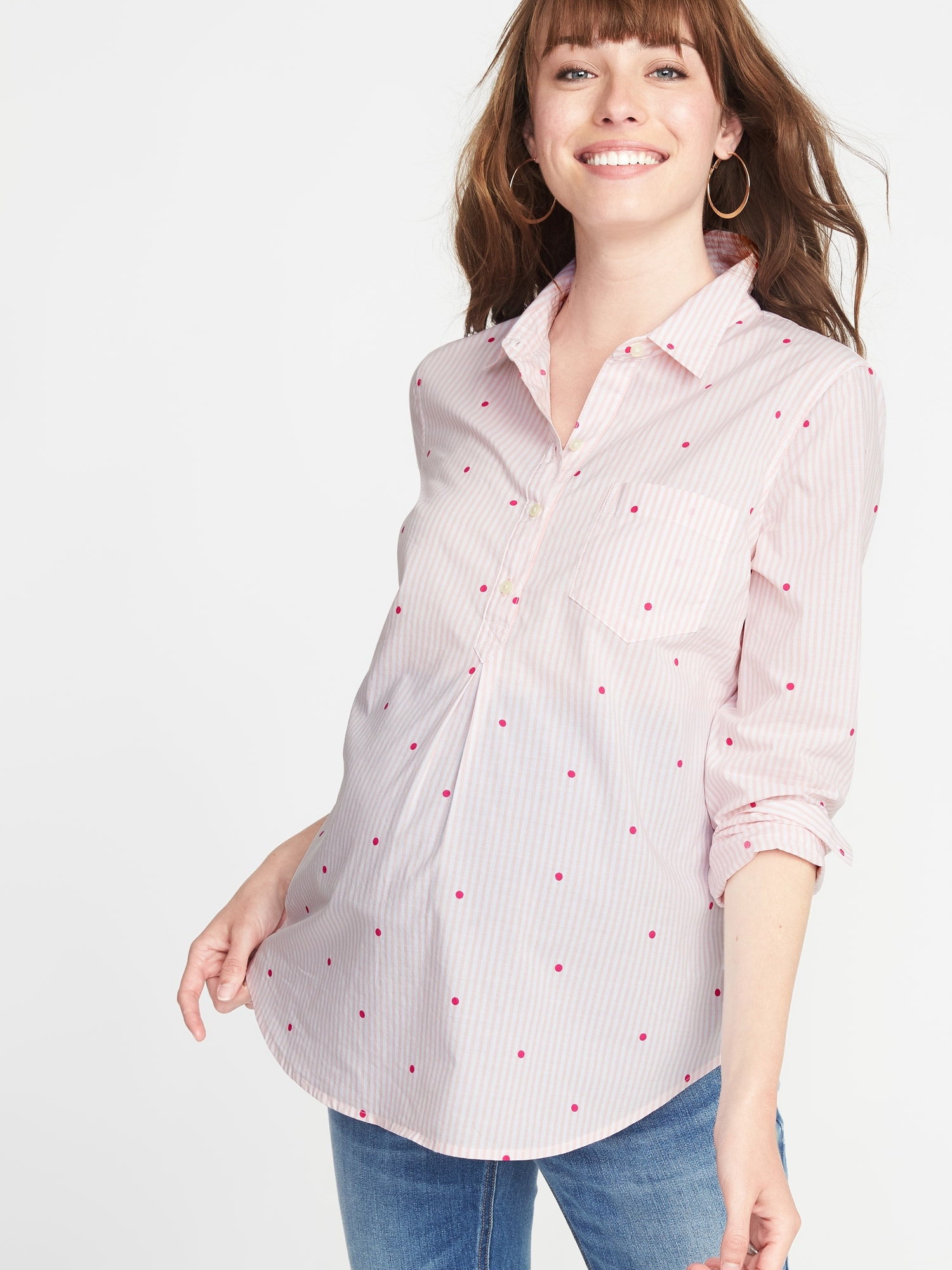9b646f37cfe63 Maternity Striped Popover Shirt