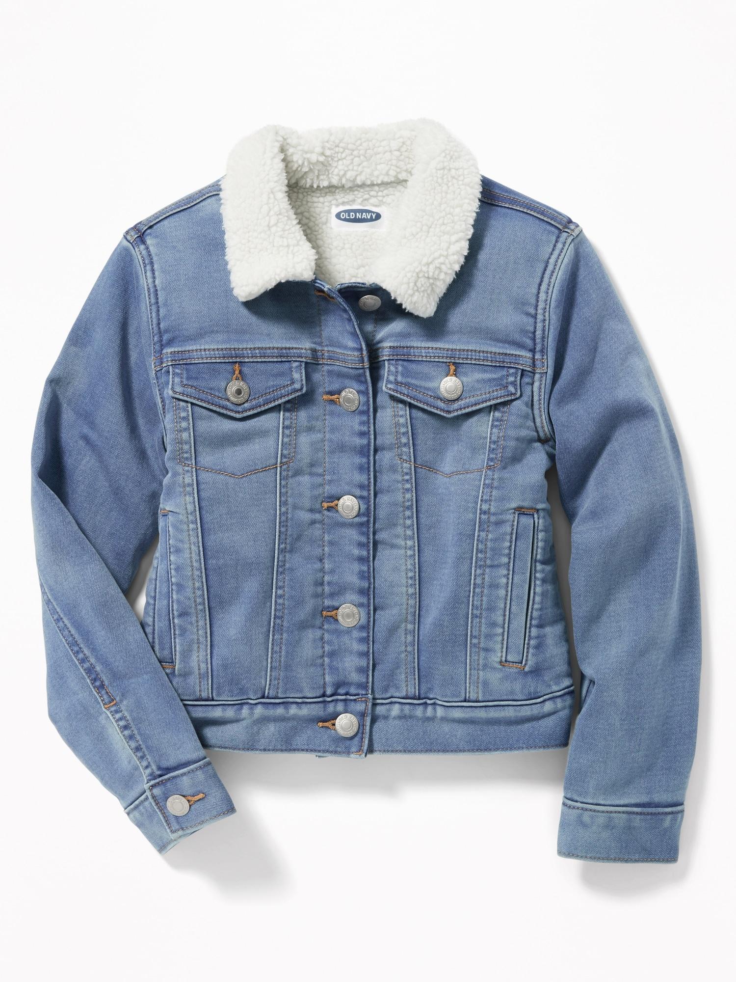d760a7d6aee9 Sherpa-Lined Denim Trucker Jacket for Girls