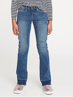 Let-Down Hem Boot-Cut Jeans for Girls