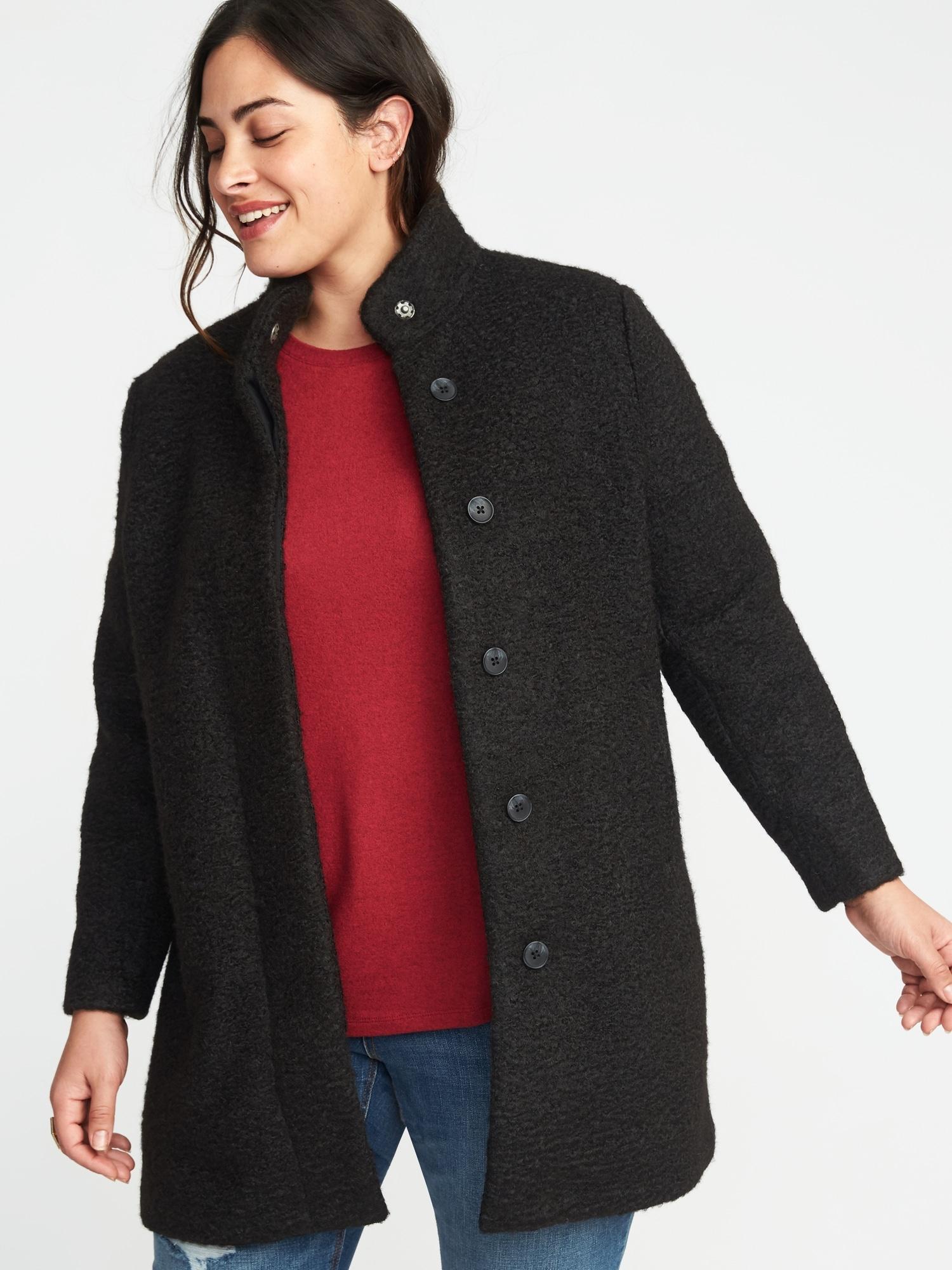 e0dc3d56c43e Plus-Size Textured-Bouclé Coat