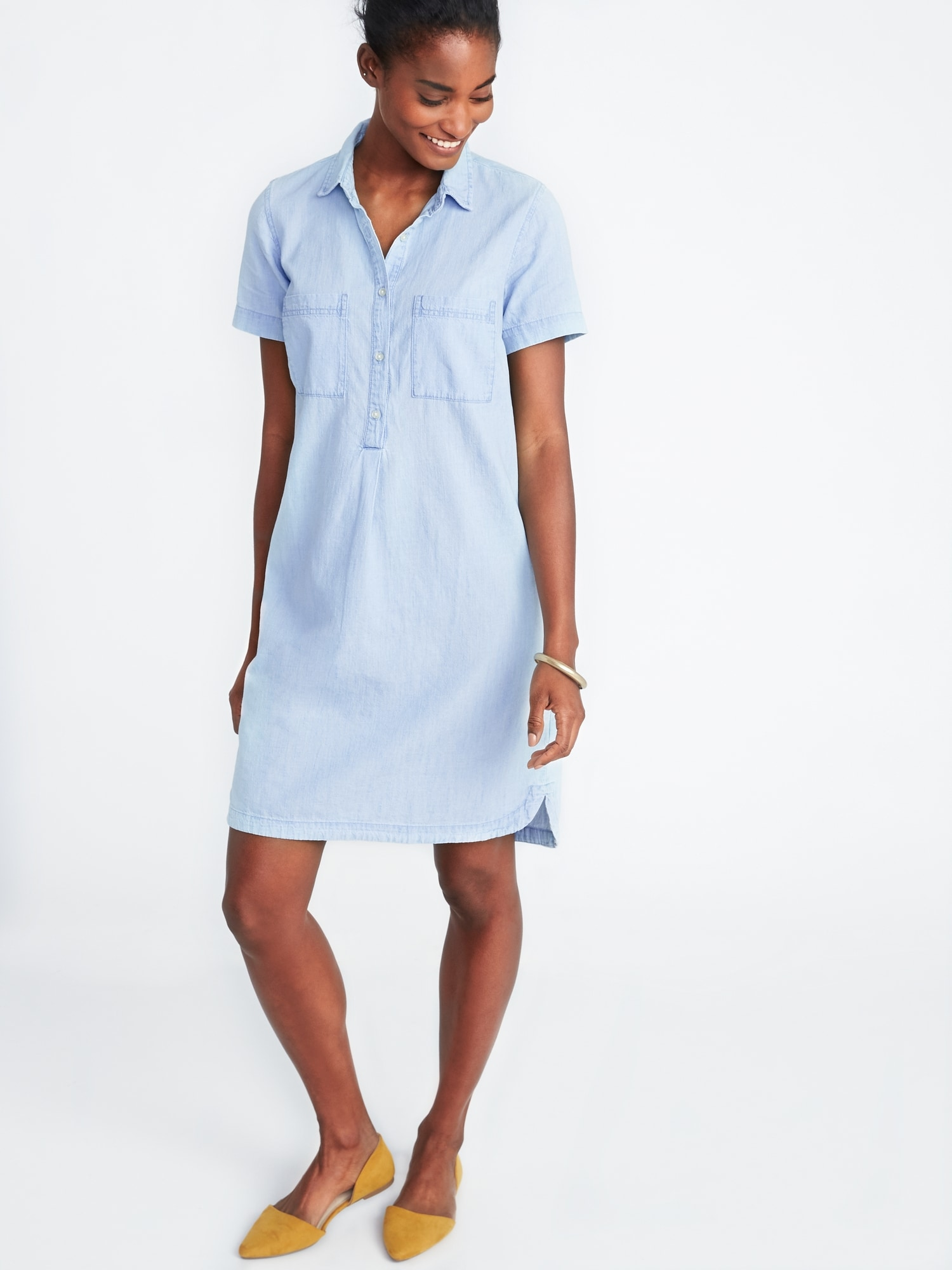 Chambray Shirt Dress For Women Old Navy