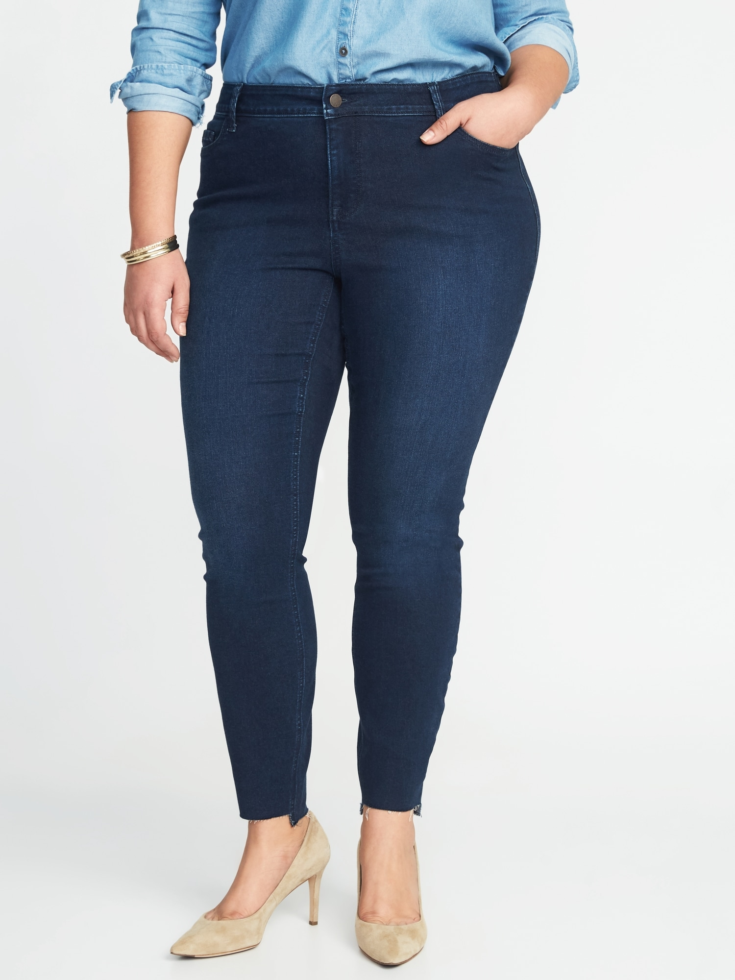 34750aff9e91 High-Rise Secret-Slim Plus-Size Step-Hem Rockstar Jeans