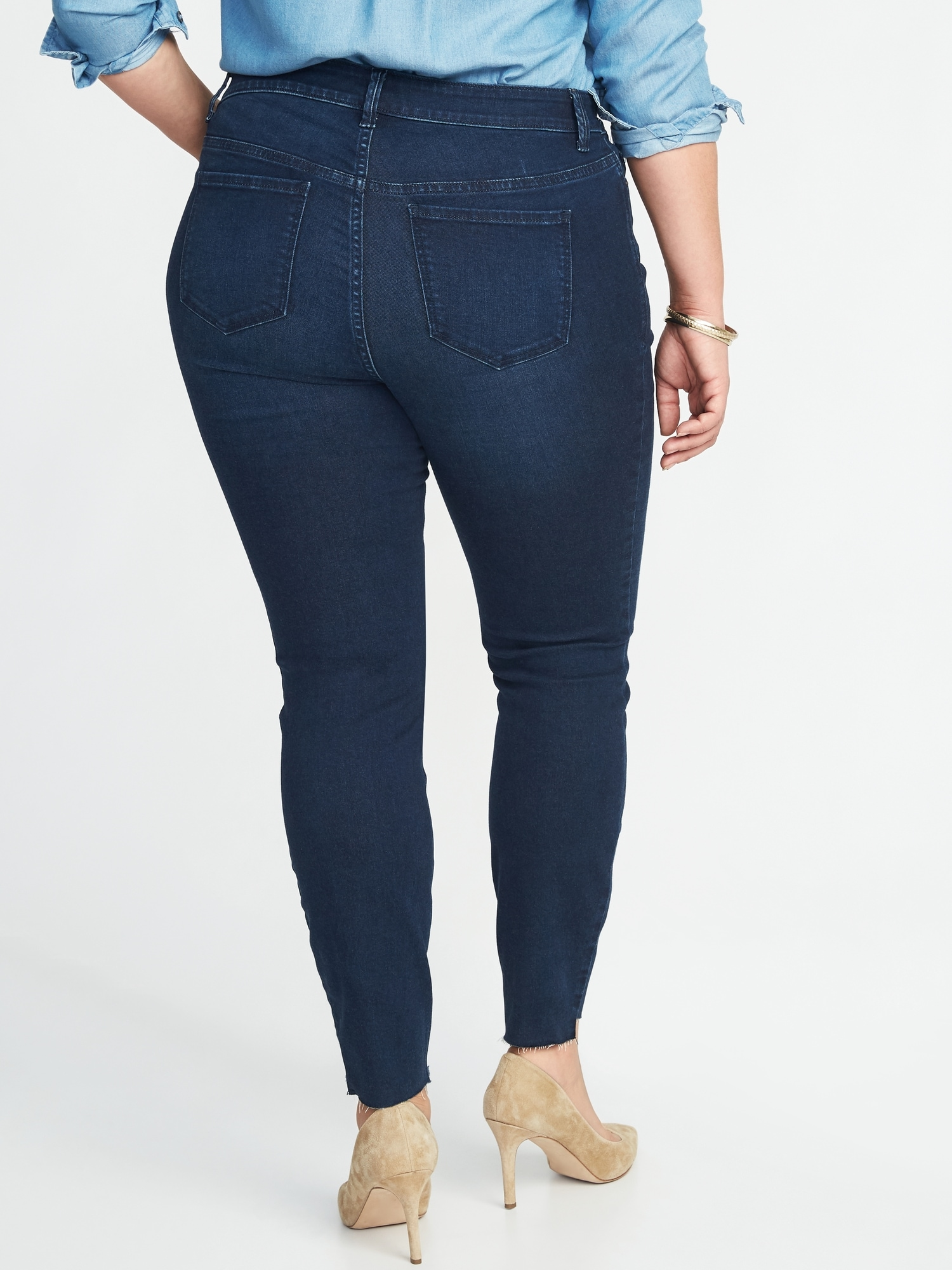 845cac40ed42 High-Rise Secret-Slim Pockets Plus-Size Step-Hem Rockstar Jeans ...