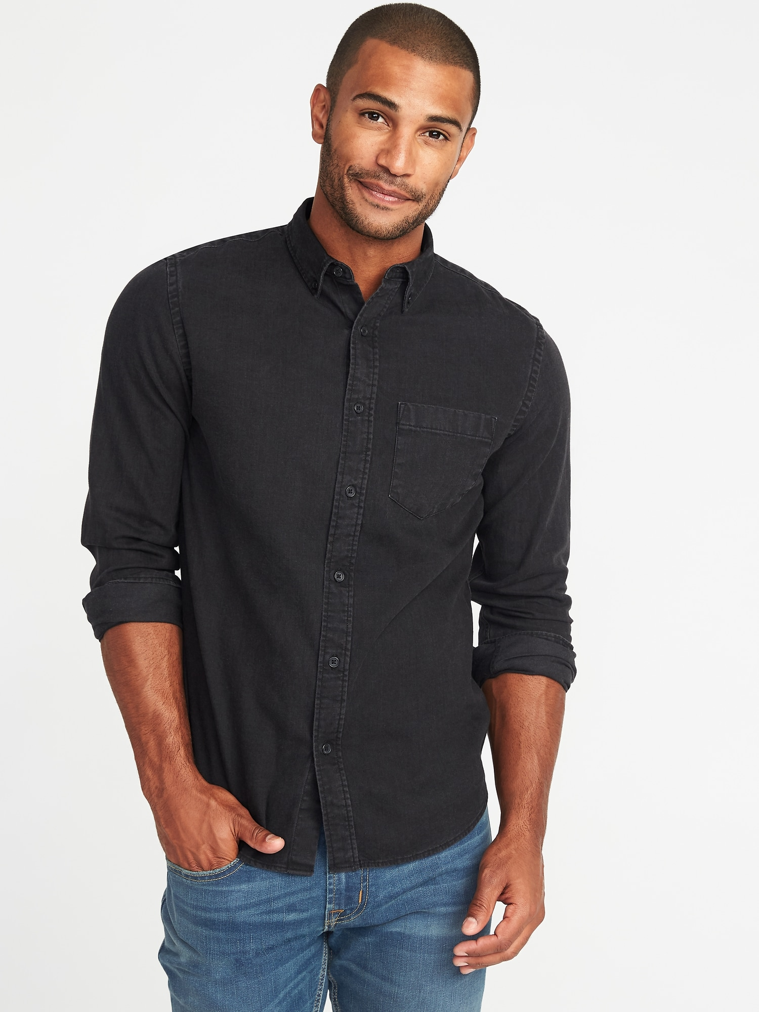 f121c89c8a1 Slim-Fit Black Denim Shirt for Men