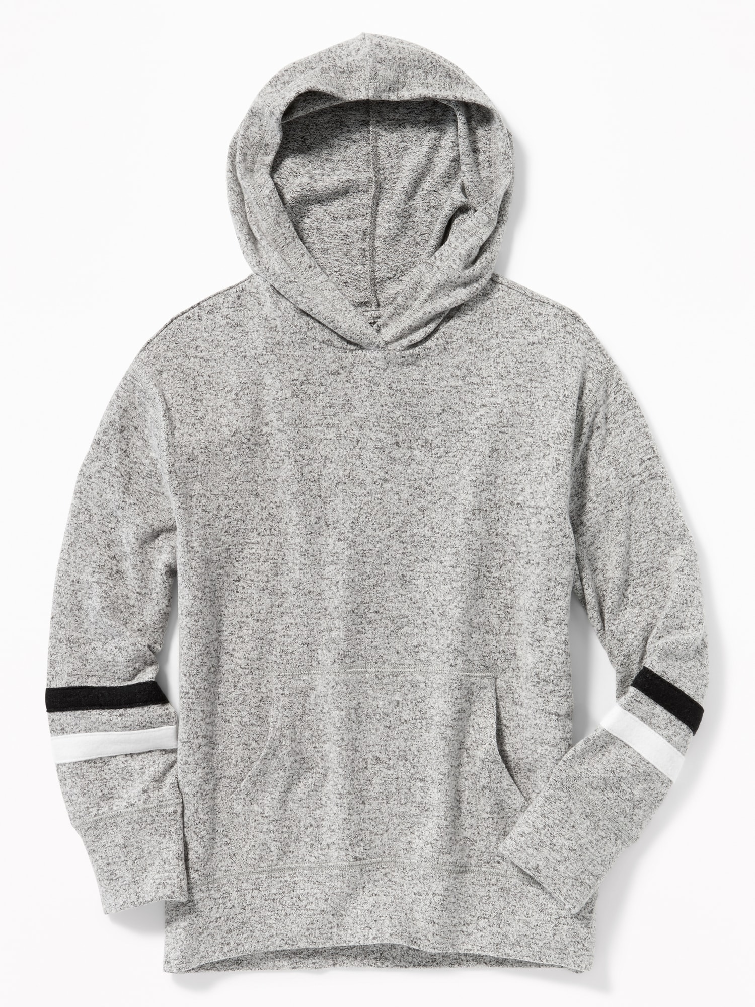 bd6ce89aa Plush-Knit Sleeve-Stripe Pullover Hoodie for Girls | Old Navy