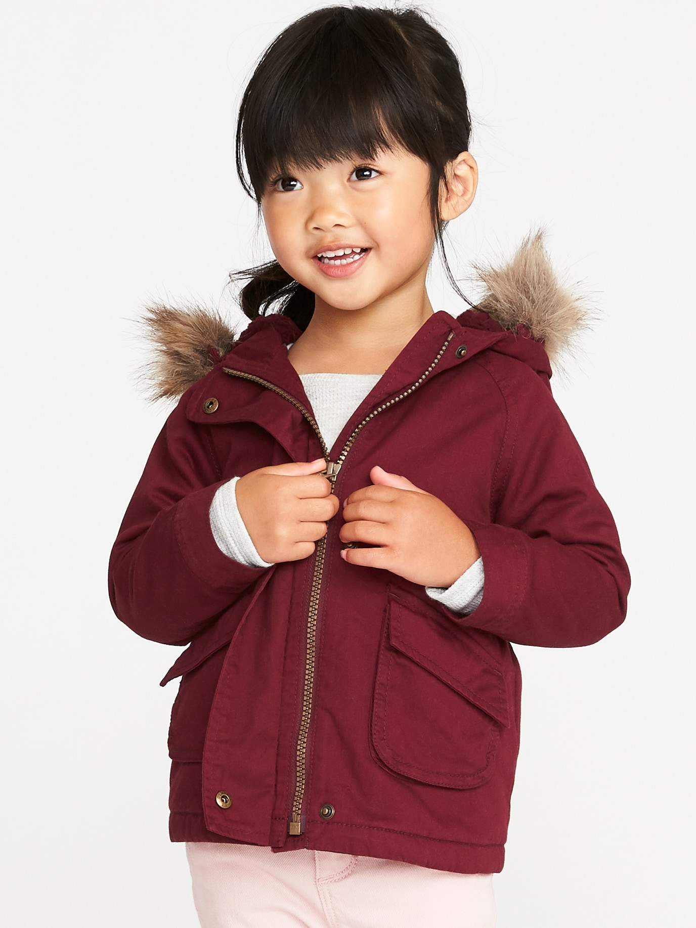 93277d961 Hooded Faux-Fur-Trim Field Jacket for Toddler Girls   Old Navy
