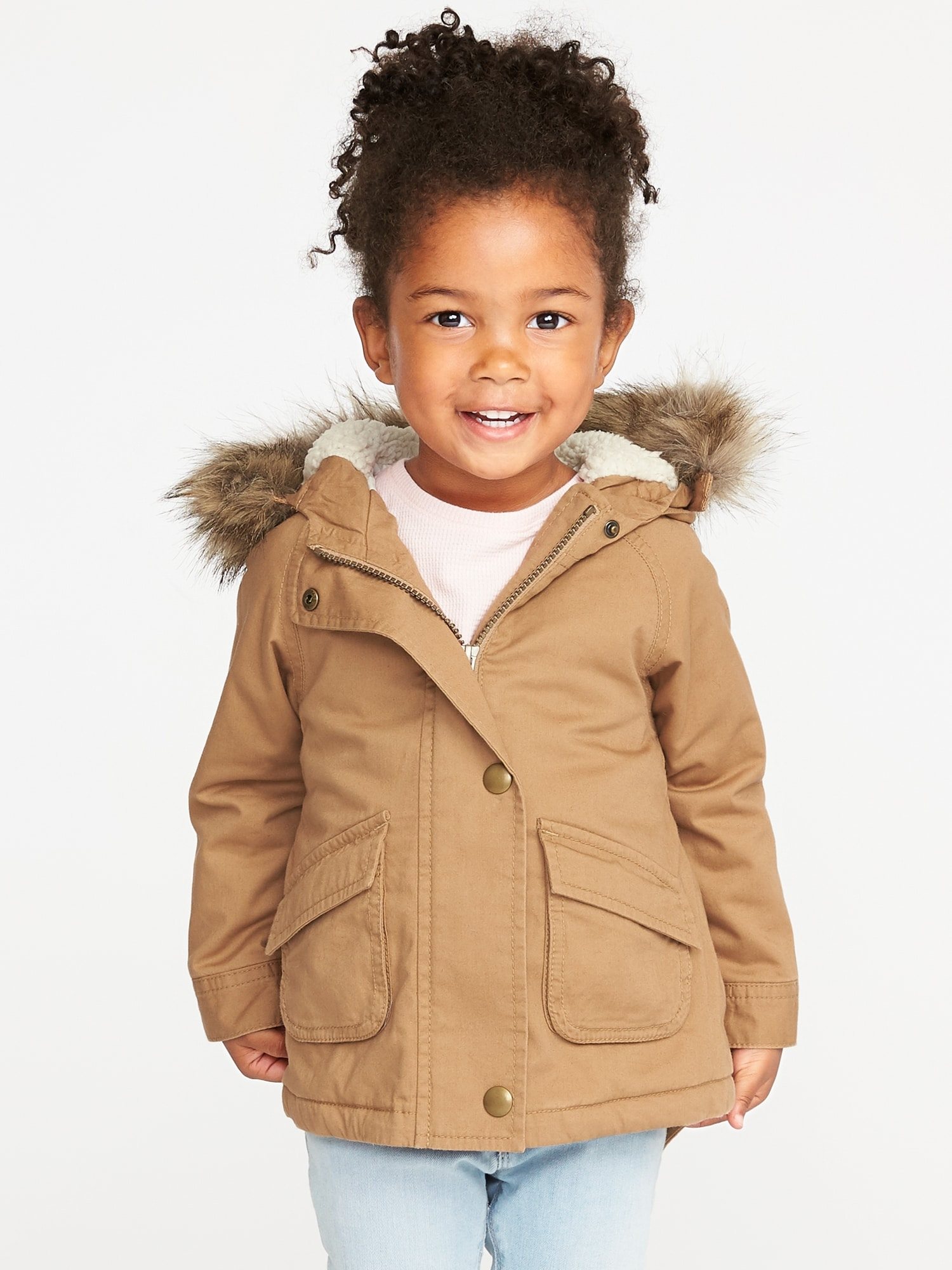 7e6c9d56e Hooded Faux-Fur-Trim Field Jacket for Toddler Girls