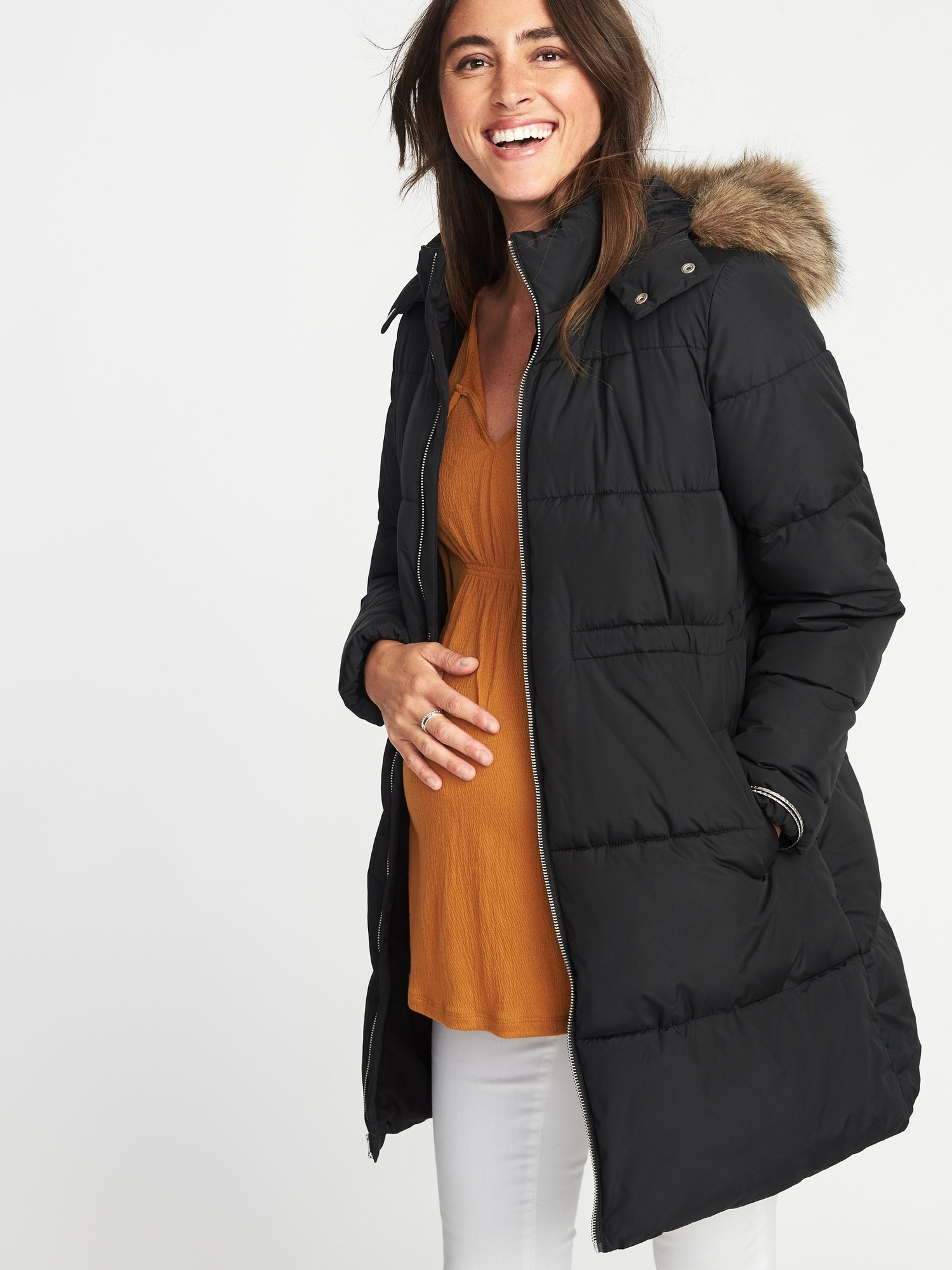 b51d50eb4f3 Maternity Long-Line Hooded Frost-Free Puffer Jacket