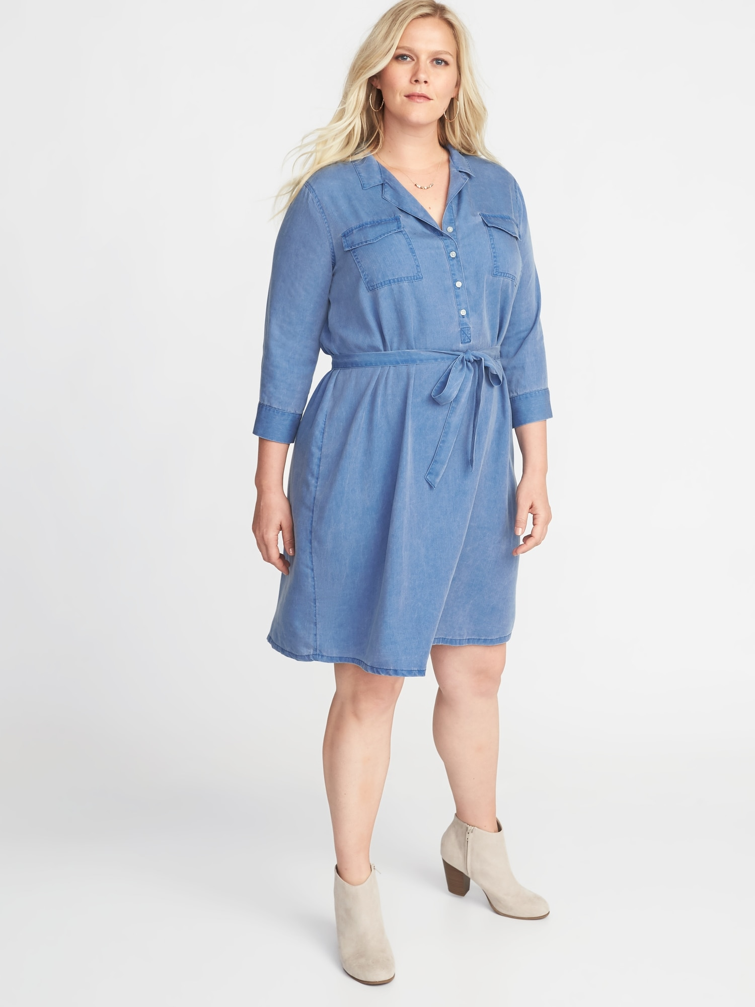 a2ebe53bd75db Plus-Size Tie-Belt Utility Shirt Dress