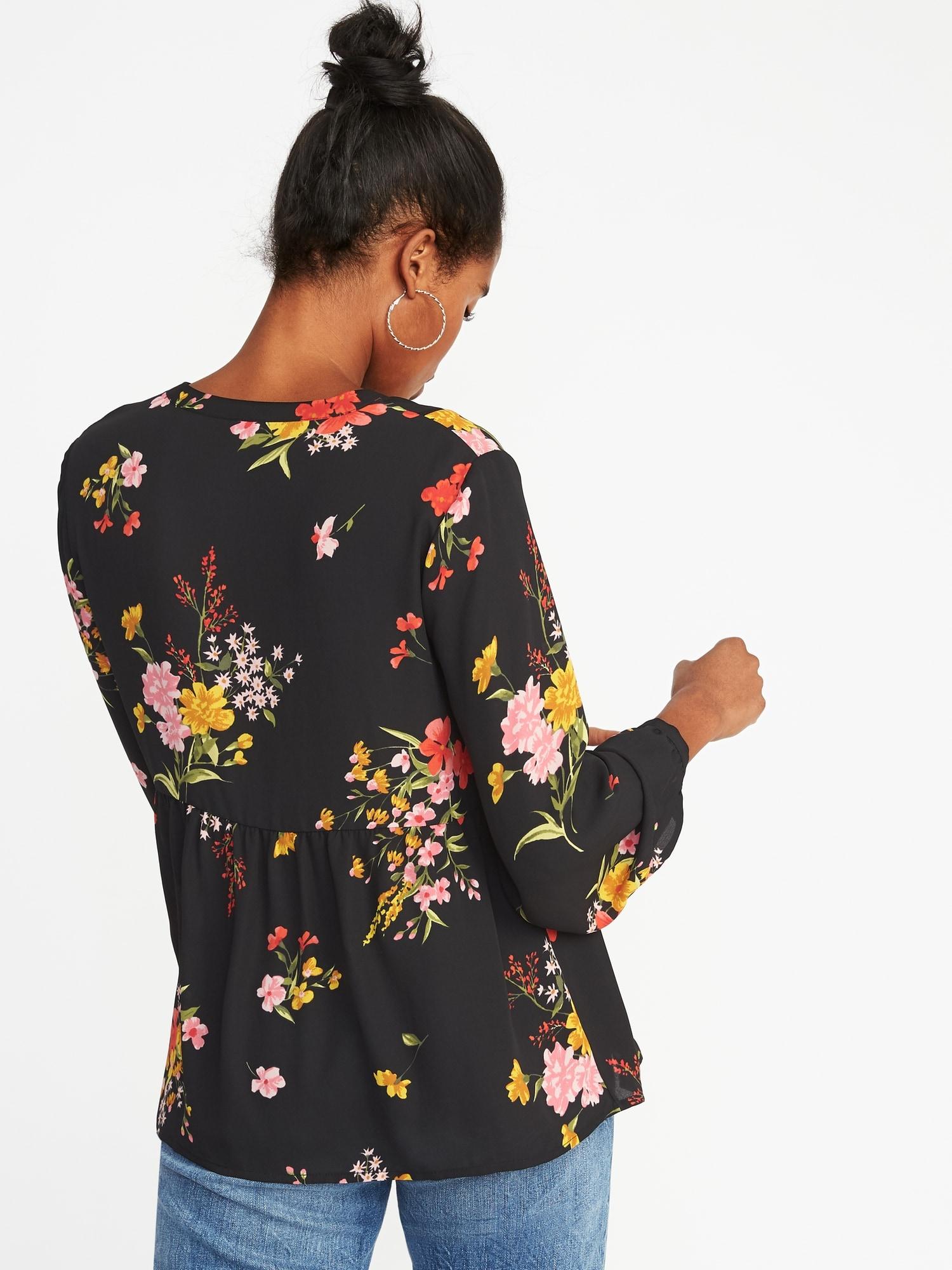 Floral Print Georgette Swing Blouse For Women Old Navy Mom N Bab Girl Set Blue Flower Size 12m