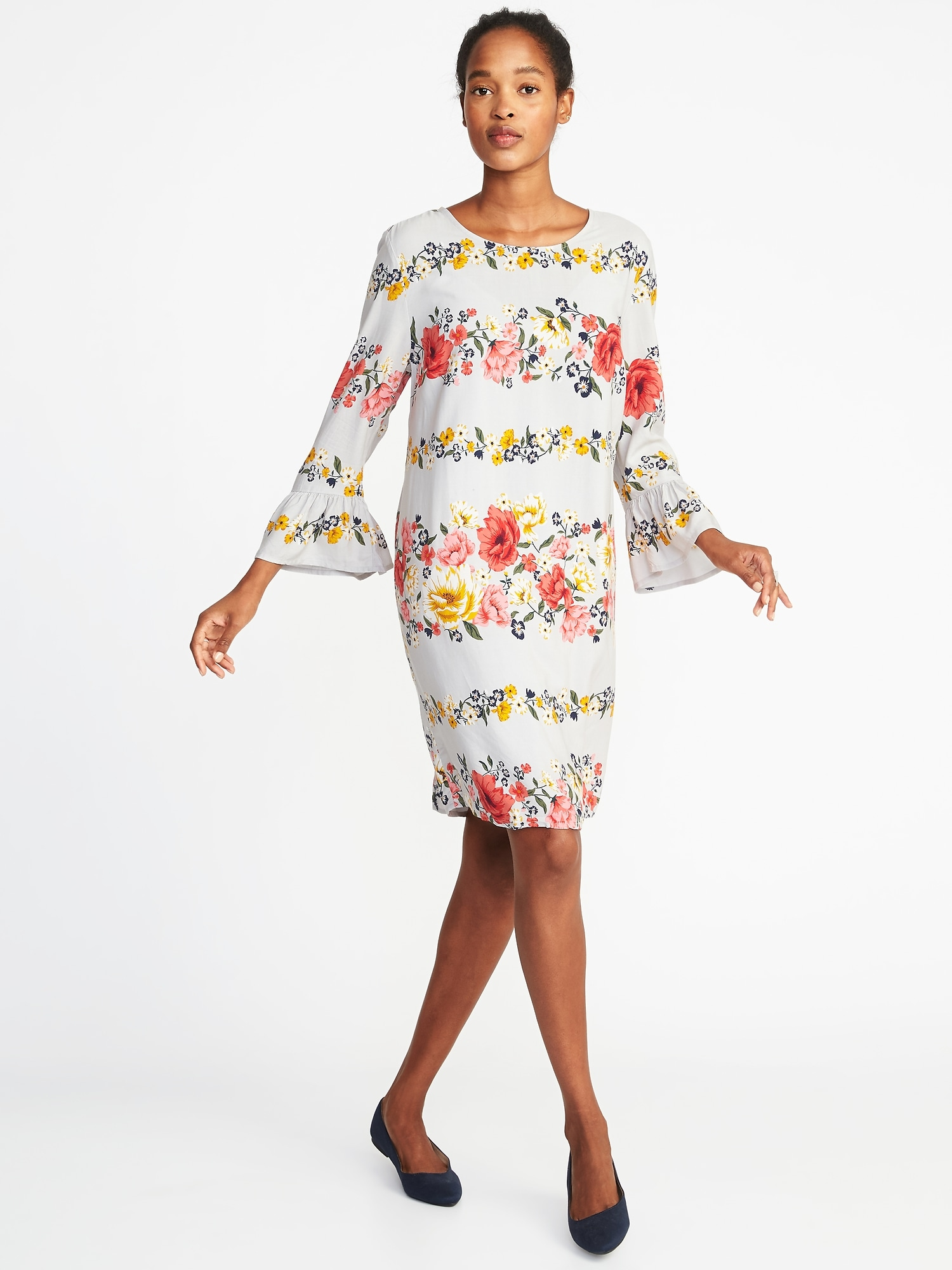 088a0aee1cb3 Floral-Print 3 4-Sleeve Shift Dress for Women