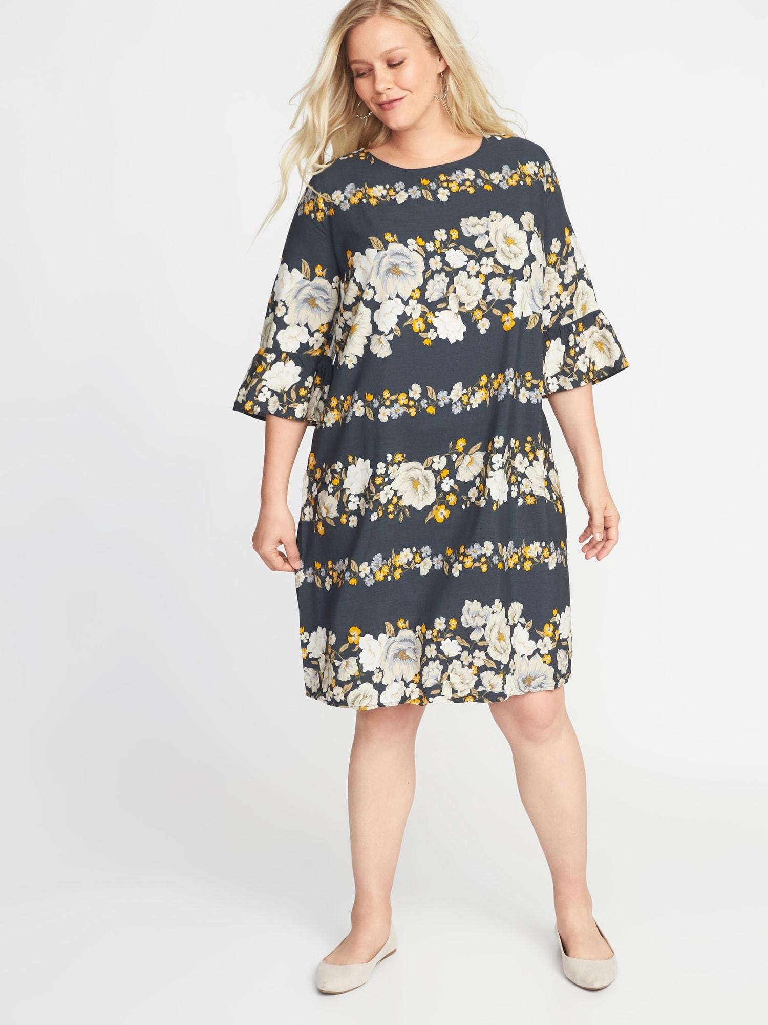 d078a7992030 Floral-Print 3 4-Sleeve Plus-Size Shift Dress