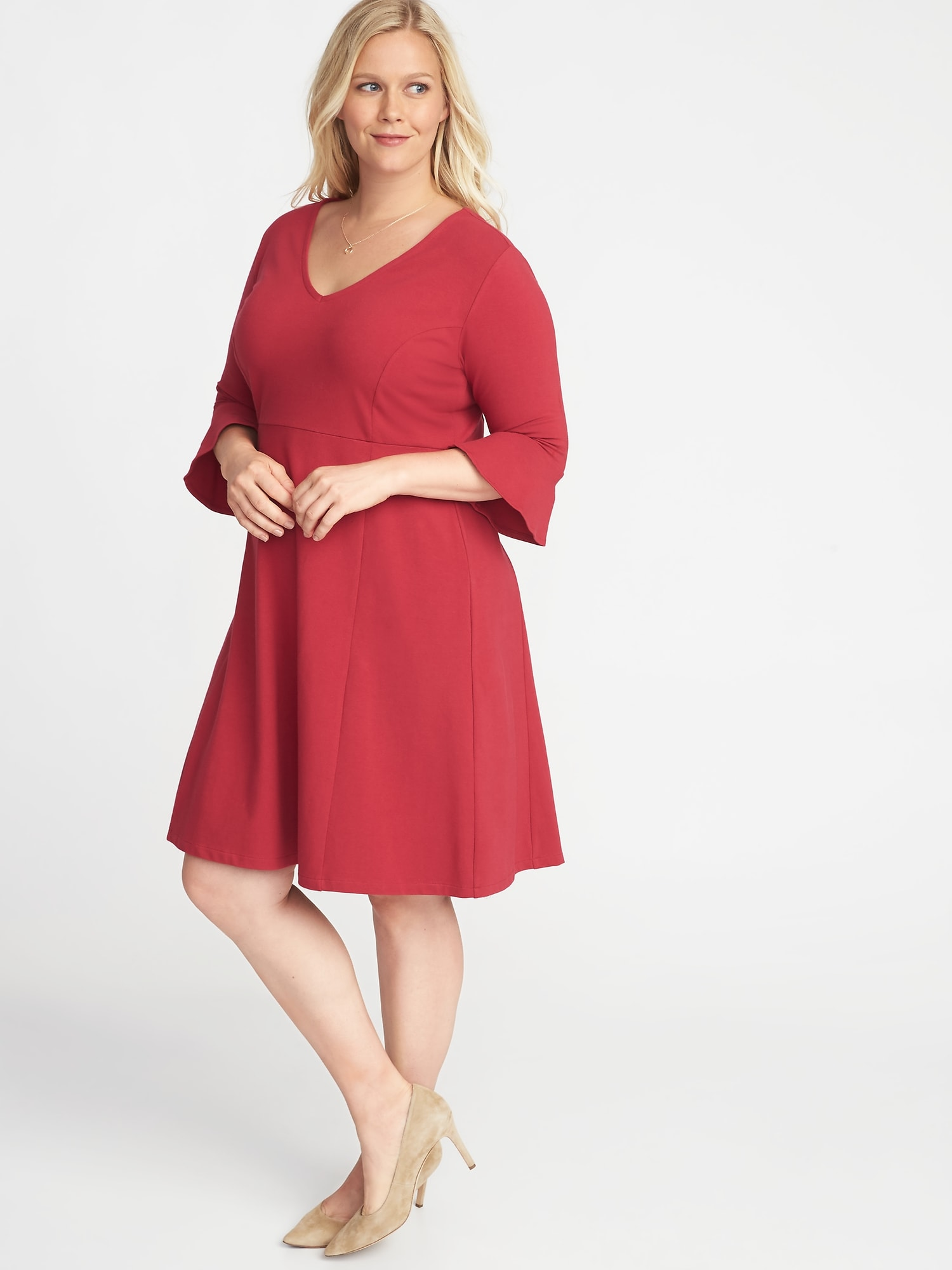 2800026448a V-Neck Flute-Sleeve Fit   Flare Plus-Size Dress