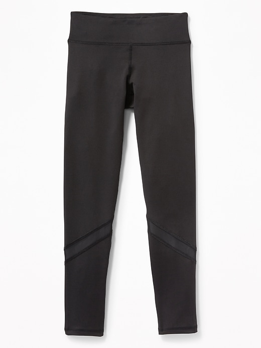 Mid-Rise Go-Dry Mesh-Trim Performance Leggings for Girls