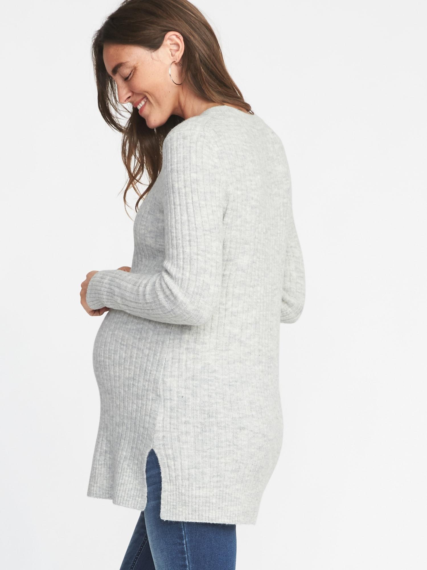 4bcbae6def827 Maternity Plush Rib-Knit Tunic Sweater   Old Navy